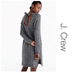 J Crew Gray Knit Open Back Sweater Dress M